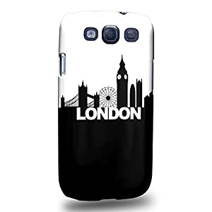 Case88 Premium Designs Art London Black And White Skyline Protective Snap-on Hard Back Case Cover for Samsung Galaxy S3