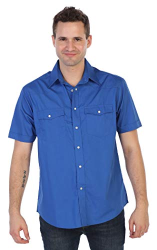 Gioberti Mens Casual Western Solid Short Sleeve Shirt with Pearl Snaps, Royal Blue, Large