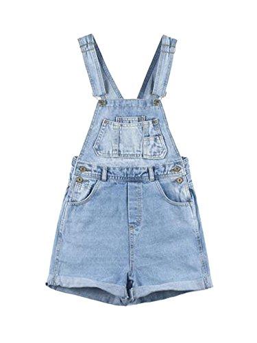 Women Denim Front Flap Pocket Short Overalls Straps Shorts