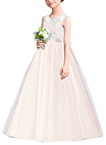 IWEMEK Girls Tulle Lace Flower Wedding Bridesmaid Dress Floor Length Princess Long A Line Pageant Formal Prom Dance Gown, Champagne, 7-8 ()