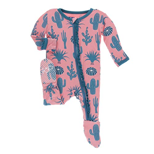 Kickee Pants Little Girls Print Muffin Ruffle Footie with Zipper - Strawberry Cactus, 3-6 Months