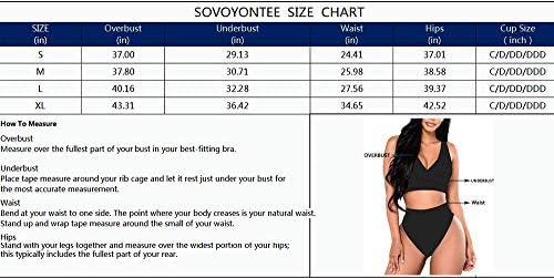 Sovoyontee Women's High Waisted Swimsuit 2 Piece Bathing Suits Bikini