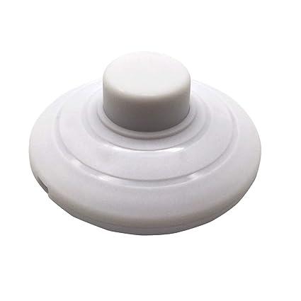 FUJIE 1 Pcs Interruptor de Pie Redondo Soporte Pedal Interruptor 250V/2A Interruptor para Lámpara para Pie Blanco para lámpara de Piso y Mesa