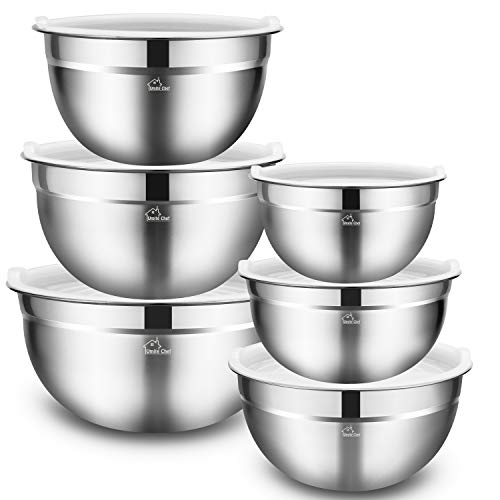 (Mixing Bowls Set of 6, Premium Stainless Steel Mixing Bowl with Airtight Lids by Umite Chef, Great for Mixing, Beating Bowls Nesting & Stackable for Convenient)