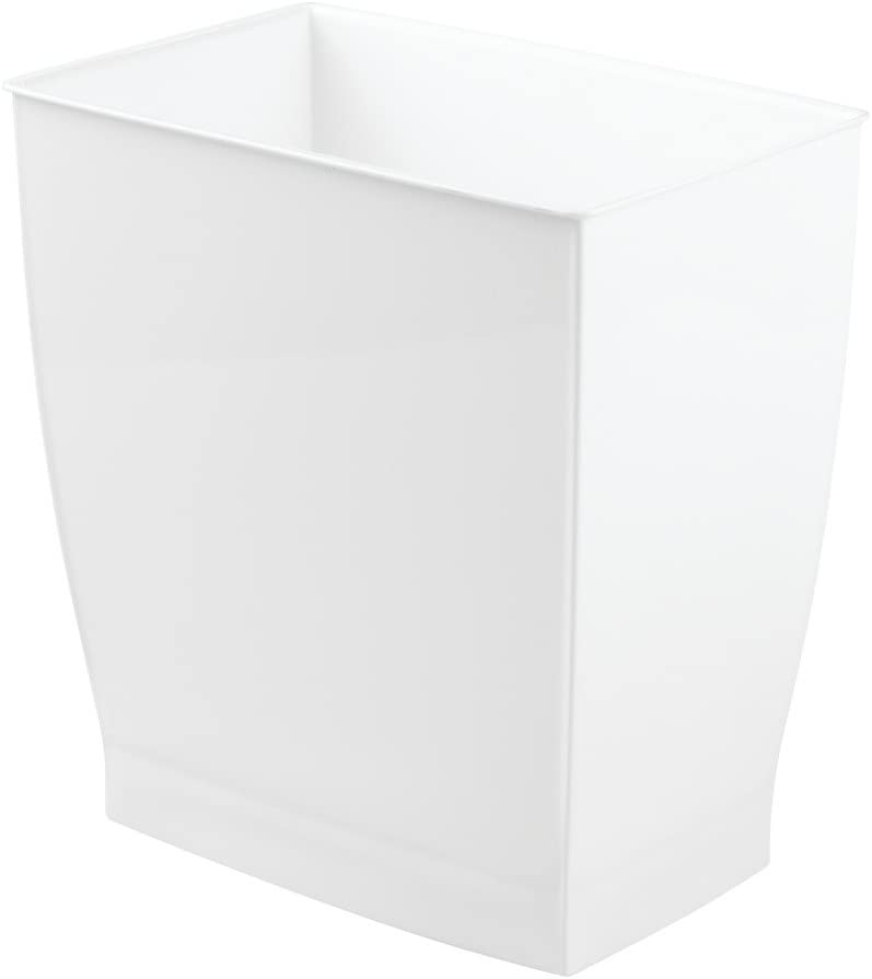 iDesign Spa Rectangular Trash Can, Waste Basket Garbage Can for Bathroom, Bedroom, Home Office, Dorm, College, 2.5 Gallon, White