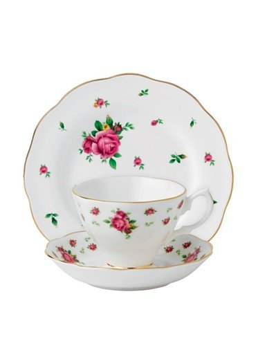 (Royal Albert 3-Piece New Country Roses Teacup, Saucer and Plate Set, White)