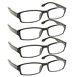 Reading Glasses _ Best 4 Pack for Men and Women _ Have a Stylish Look and Crystal Clear Vision When You Need It! _ Comfort Spring Arms & Dura-Tight Screws _ 100% Guarantee +2.75