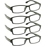 Reading Glasses _ Best 4 Pack for Men and Women _ Have a Stylish Look and Crystal Clear Vision When You Need It! _ Comfort Spring Arms & Dura-Tight Screws _ 100% Guarantee +2.00