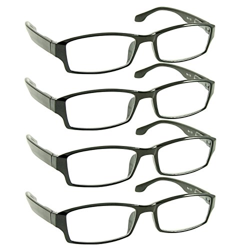 Reading Glasses _ Best 4 Pack for Men and Women _ Have a Stylish Look and Crystal Clear Vision When You Need It! _ Comfort Spring Arms & Dura-Tight Screws _ 100% Guarantee +1.50 (Sight Glass Plastic)
