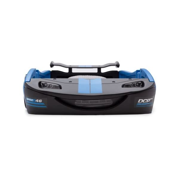 "Delta Children Turbo Race Car Twin Bed | 47.5""W x 22.5""H x 94""D (Blue) 6"