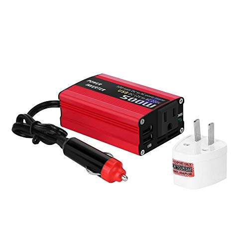 500W DC to AC Power Converter DC 12V to 110V 220V AC Car Inverter with Dual USB red