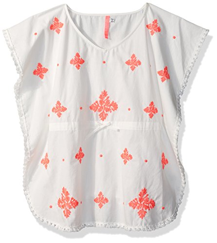 Seafolly Big Girls' Embroidered Kaftan, White/Jewel Coral, S/M