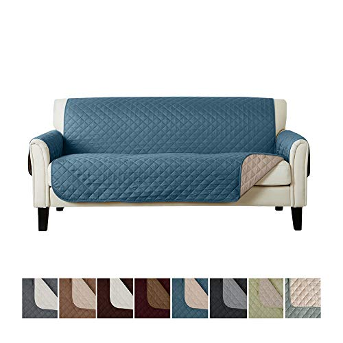 Home Fashion Designs Deluxe Reversible Quilted Furniture Protector. Perfect for Families with Pets and Kids. (Sofa/Couch, Smoke Blue/Flax)