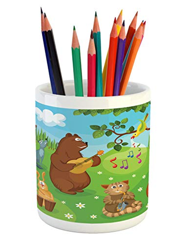 Ambesonne Hedgehog Pencil Pen Holder, Open Air Concert in Forest Instrument Playing Bear Rabbit Fox and Tweeting Bird, Printed Ceramic Pencil Pen Holder for Desk Office Accessory, Multicolor