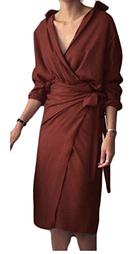 ONTBYB Womens Elegant V Neck Long Sleeve Wrap Bodycon Midi Dress 2 S by ONTBYB