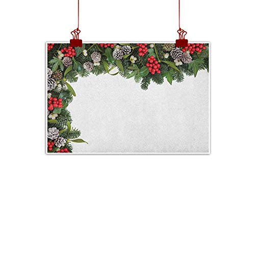 Outdoor Nature Inspiration Poster Wilderness Christmas,Winter Frame with Holly Ivy Mistletoe Spruce Fir and Pine Cones Arrangement Image, Multicolor 36