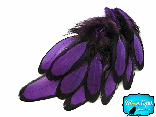Long Purple Feather Earrings - Purple Laced Hen Feathers for Crafting 12pc/bag