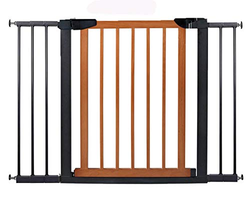 Fairy Baby Pet & Baby Gate Narrow Extra Wide for Stairs Metal and Wood Pressure Mounted Safety Walk Through Gate,29″ High,Fit Spaces 81.89″-84.65″,Coffee Black
