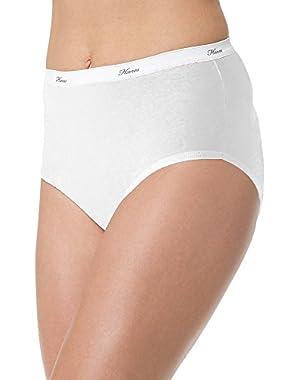 Hanes Women's 6Pack White Cotton Briefs Ladies Panties Underwear