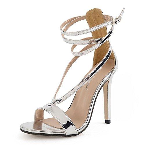 L@YC Mujeres De TacóN alto De Plata De OtoñO Cruz Con Hueco Zapatos De Danza De 11 Cm Fresco White