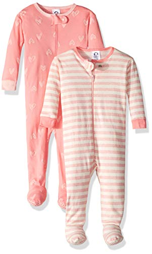 Gerber Baby Boys Organic 2 Pack Cotton Footed Unionsuit, 3 months, SCRIBBLE HEARTS