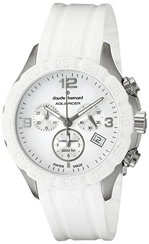 Claude Bernard Men's 10205 3B BIN Stainless Steel Watch With White Rubber Band - Silver Museum Dial