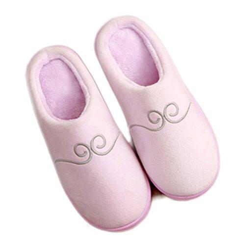 pour Slip Anti Chaussons Chaussures Respirant Hiver Pantoufles Adulte Maison Coton Rose de Pantoufles d'intérieur Confort WDGT Peluche Chaleur Hommes on Femmes Pantoufles Slip Couple AqU1fWOW0