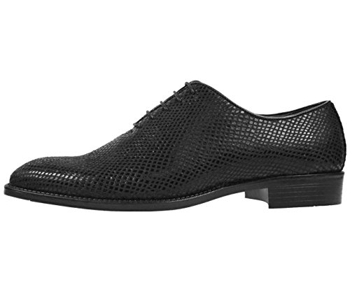 Bolano Mens Metallic Exotic Emboss Stampato Oxford Dress Shoe Style Brent Black