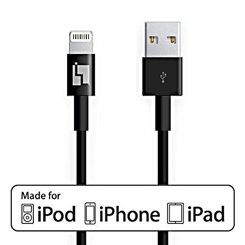 Certified Apple Lightning to USB Cable - Compatible with iPhone 6 / 6 Plus / 5 / 5s / 5c - Black - 1 Year