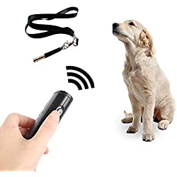 kathson Dog ultrasonic Trainer, Anti Barking Devices Ultrasonic Dog Whistle Dog Bark Training Aid 3 in 1 LED Light for Dog Puppies Outdoor
