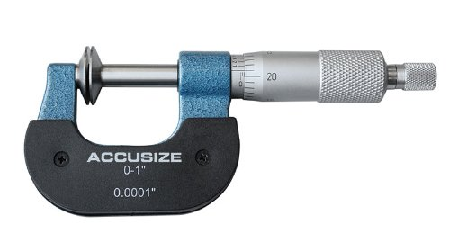 Accusize Industrial Tools 0-1'' Range x 0.0001'' Resolution Disc Type Micrometer in Fitted Box, 3/4'' Diameter Flanges, 2502-1001 ()