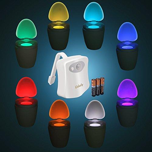 Toilet Light LED Motion Activated - 3pcs Battery Included - Lanaco Human Body Motion Sensor Toilet Night Light, 8 Colors Changing Energy-Efficient Bowl Nightlight for Bathroom Washroom