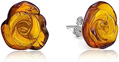 Genuine Amber Sterling Silver Flat Carved Rose Stud Earrings