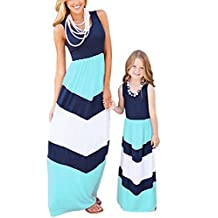 BYM Mother and Child Summer Sleeveless Striped Casual Print Tank Maxi Long Dress