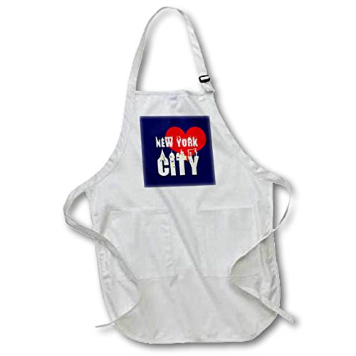 3dRose Alexis Design - American Cities - Elegant text New York City, red heart, shining windows on black - Full Length Apron with Pockets 22w x 30l (apr_286452_1)