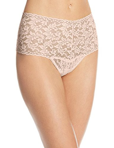 Hanky Panky Women's Signature Lace Retro Thong Taupe Thongs One Size (Hanky Panky Signature Bralette)