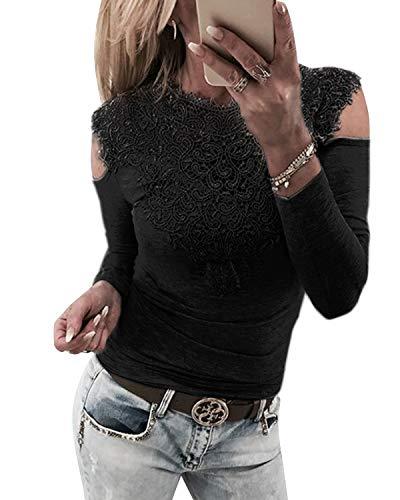 YOINS Sexy Schulterfrei Oberteil Damen Langarmshirt Bluse für Damen Spitzenbluse Mode Patchwork Tshirt Bluseshirt Dirndlbluse