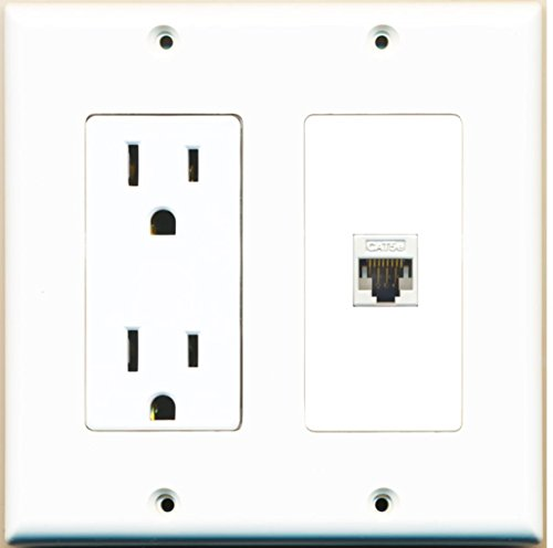 (RiteAV - 15 Amp Power Outlet and 1 Port Cat5e Ethernet White Decora Type Wall Plate White)