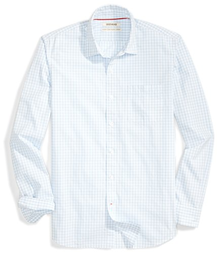 Goodthreads Men's Standard-Fit Long-Sleeve Gingham Plaid Poplin Shirt, grey/blue/white, Small