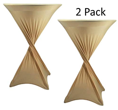 CoolZest Cocktail Table Covers 2 Pack, High Top Table Tablecloth, Spandex Table Covers for Cocktail Tables Bar Height, 30-Inch Fitted Tablecloths for Round Tables (Champagne) (Tablecloths Champagne Cheap)