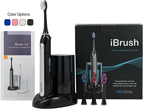 Electric Rechargeable iBrush (black) – Sonic Wave Electric Rechargeable Toothbrush with UV Sanitizer, 3 Extra Brush Heads and Built In Brushing Timer with Multiple Brush Settings