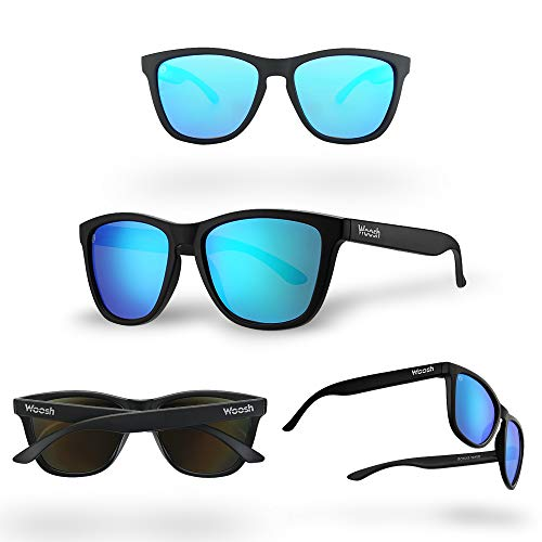 Polarized Lightweight Sunglasses for Men and Women - Blue Lens & Black Matte Frame - Unisex Sunnies for Fishing, Beach and Outdoors by WOOSH