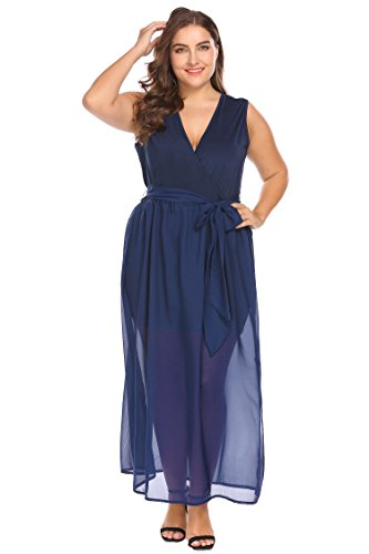 Floral Mid Calf Plus Wedding Plus Navy Size Neck IN'VOLAND Blue V Women's Chiffon Dress Party Evening Printed Size 1Uxq4fY
