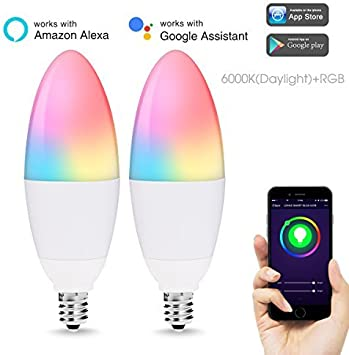 LED Candelabra Bulbs E12 Base, Color Changing and Dimmable Smart Light Bulb, Compatible with Alexa Google Home, Tunable White Chandelier Light Bulbs