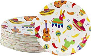 Disposable Plates - 80-Count Paper Plates, Mexican Fiesta Party Supplies for Appetizer, Lunch, Dinner, and Dessert, Birthdays, Cinco de Mayo, 9 x 9 Inches]()