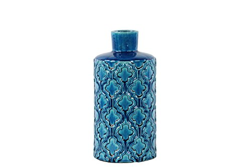 Urban Trends Ceramic Cylindrical Vase with Embossed Quatrefoil Pattern in SM Gloss Finish, Royal Blue Royal Blue Ceramic