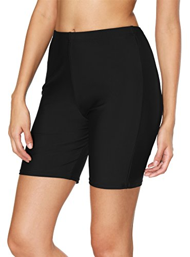 BeautyIn Women's Sport Swimsuits Bottom Stretch Board Shorts Solid Beach Shorts,Black 1,12/Tag XL