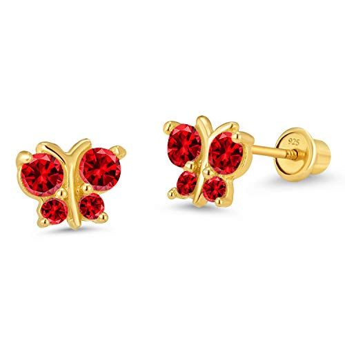 - 14k Gold Plated Brass Red Butterfly Cubic Zirconia Screwback Girls Earrings with Silver Post