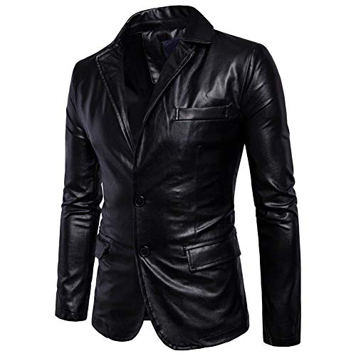 King Leathers Men's Genuine Lambskin Real Leather Blazer Two Button Black - Leather Blazer Genuine