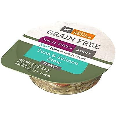 SIMPLY NOURISH 6-Grain Free Small Breed Adult Dog Tuna & Salmon Stew (Flaked) 6-Individual 3 oz Cups